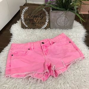 Vs PINK jean shorts neon pink